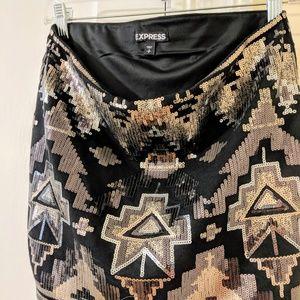 Express Skirts - Express ▪ Metallic Aztec Sequin Mini Skirt
